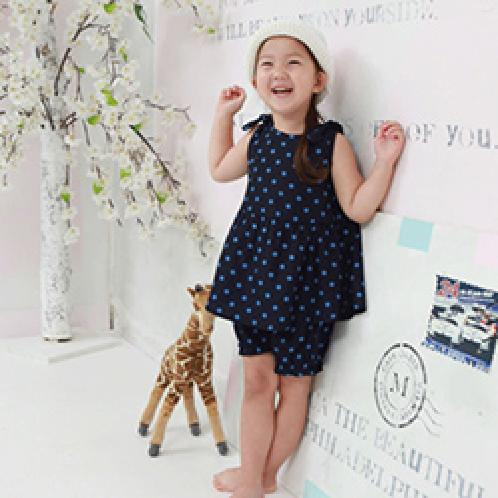 Foresntree Blue Dots Girls Toddler Top and Bottom One-Piece Set | Sensitive,Quality,MadeinKorea,Kids,ForesnTree,Baby,Toddler,Soft Fabric,Outdoors,Clothing