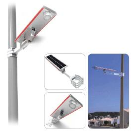 Solar rechargeable street light. Booth duct