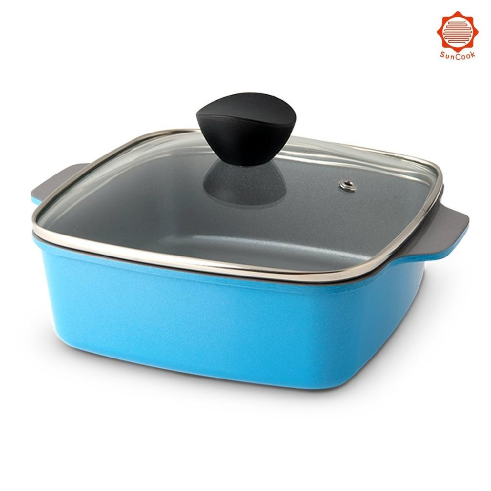 7.1 Inch Square Ceramic Nonstick Covered Casserole - Professional Cookware for Flavor Enhancing, Eas