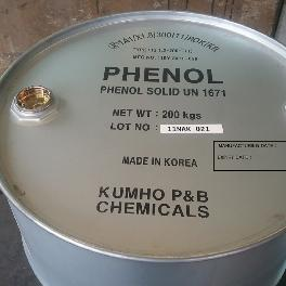 Used as a raw material for diverse chemical components PHENOL (Coagulates at room temperature)