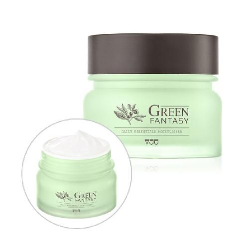 VJU Green Fantasy Daily Essentials Moisturizer / A low-irritant daily moisturizing cream | Peeking or flaky skin, Dry skin causing cakey makeup, Rough skin causing moisture imbalance