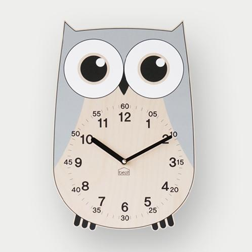 Rich Owl non-ticking Silent Wall Clock (gray) | silent wall clock,decor housewarming gift,wooden wall art,Owl clock,BEZIT
