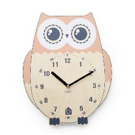 Rich Owl non-ticking Silent Wall Clock (peach)