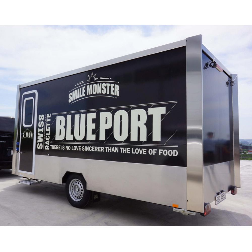 Mobile food vending trailer where cooking and sale are available