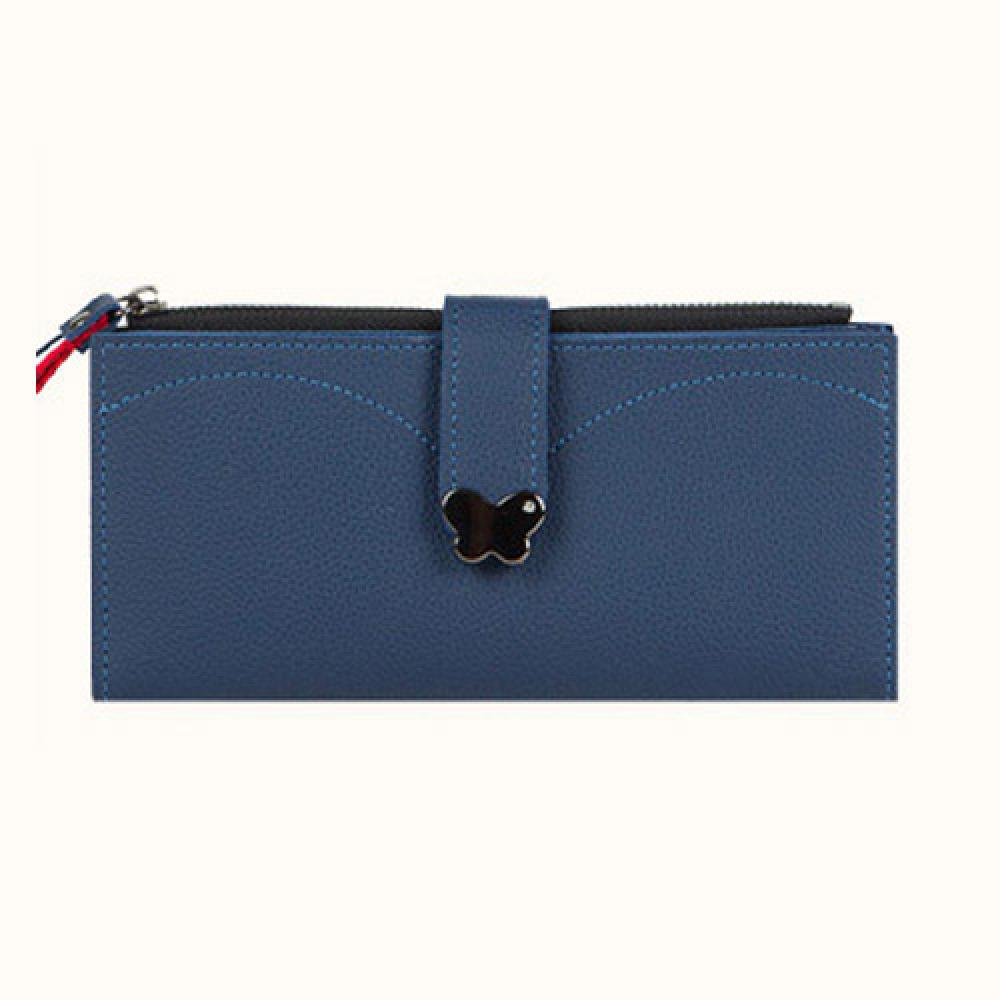 Butterfly decorated Korea lady women long slim wallet(Blue)