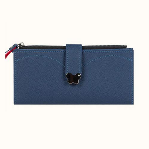 Butterfly decorated Korea lady women long slim wallet(Blue) | Composition Leather, Sufficient slots for card & bill, Luxurious appearances,lady wallet