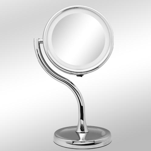 S line LED mirror_HM-468 | Magnifying mirror,Lighted Makeup Cosmetic Mirror ,Brightness Adjustable