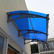 "47"" X 39"" Window Awning Outdoor Polycarbonate Front Door Patio Cover Garden Canopy,Bluegray"