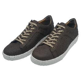 Felizzano Cow Leather Casual Sneakers for Men,879611, Navy and Brown