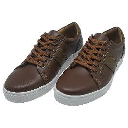 Felizzano Cow Leather Casual Sneakers for Men,879615, Brown and White