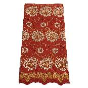 100% Cotton Premium African Voile Lace Fabric for Women Wedding, Fashion Dress, Party, Aso-Ebi (RED)