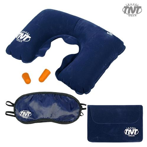 Travel Gear Set with Travel Pouch - Air Neck Pillow + Eye Sleep Mask + Ear Plugs (Navy) | Pillow,Eye Sleep Mask,Ear Plugs
