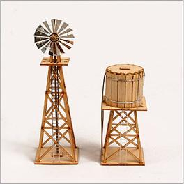 Wooden Model Kit Western Windmill set