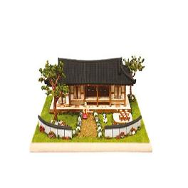 DESKTOP Wooden Assembly Model Kits. (Tile-roofed Garden House)