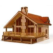 Wooden Model Kit Garden House A with a large deck by YOUNGMODELER by Young Modeler