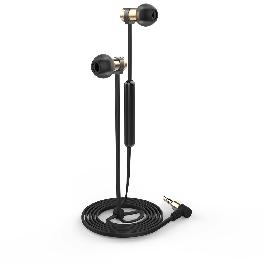 EARMAC MSE-01 Earphone Metal Slim Edition In-ear Aluminum Microphone Flat Cable Black