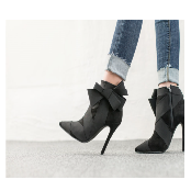la'emd ribbon booty ankle boots high heel