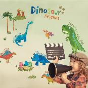 SELF-ADHESIVE WALL ART DECOR STICKER KR-0085 Dinosaur Friends