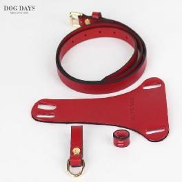 Premium leather harness T type (Red)