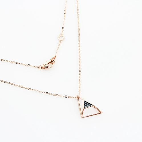 [VICTORIA] Triangle Necklace | Necklace,rose gold, nature blue diamond