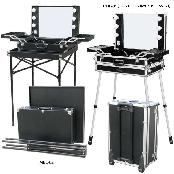 Lighted Makeup Box and Chair for Makeup Artist and Visagiste. Studio Equipment