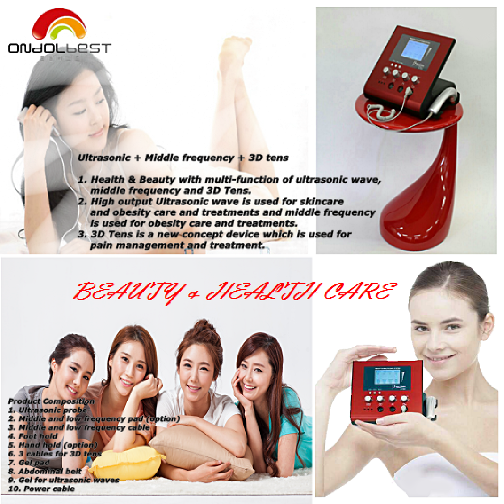 Ultrasonic Beauty&Health Care Device Compounded with Middle Frequency&3D Tens