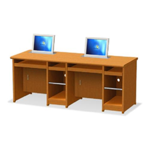 Double Monitor Storage Type Automatic Desk  | Furniture, Educational computers, Monitor Furniture
