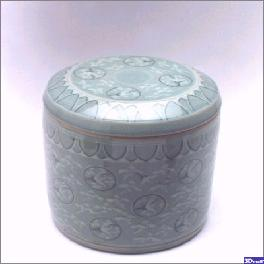 CHUNGJA no.1 (celadon no.1 ; the cloud-crane pattern inlaid celadon cremation urn)