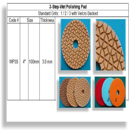 3 Step Wet Polishing Pad Original    | diamond tool, 3 step polishing pad, 3 step pad, stone tool, wet polishing pad, dry polishing pad, wet pad, dry pad, Flexible Polishing Pad, Concrete Polishing Pad, Engineered Stone Polishing Pad, Metal Polishing Pad, Stone Tool, Stone Fabrication