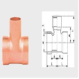 EQUAL TEE copper Solder Brazing Type Equal Tee