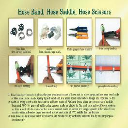 Hose band, hose saddle, hose scissors