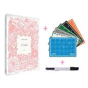 [Analog] Self-healing hobby Paper Cutting Art Book Set with Color Cutting Mat (A4, 6 Colors)