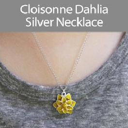 Cloisonne Dahlia Silver Necklace