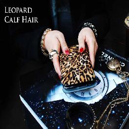 Leopard Calf Hair Mobile Case Korea Artisan handmade design pouch