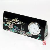 Mother-of-Pearl Desk Clock and Business Card Holder