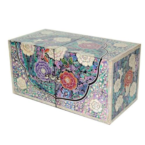 Mother-of-Pearl Flower Butterfly Twin cubic Jewelry boxes with 4 Drawers | jewelry box, mother of pearl, flower butterfly, special gift, korean traditional