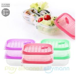 Silicone Square Frozen container 3 colors have -40℃~250℃ heat resistance made in Korea
