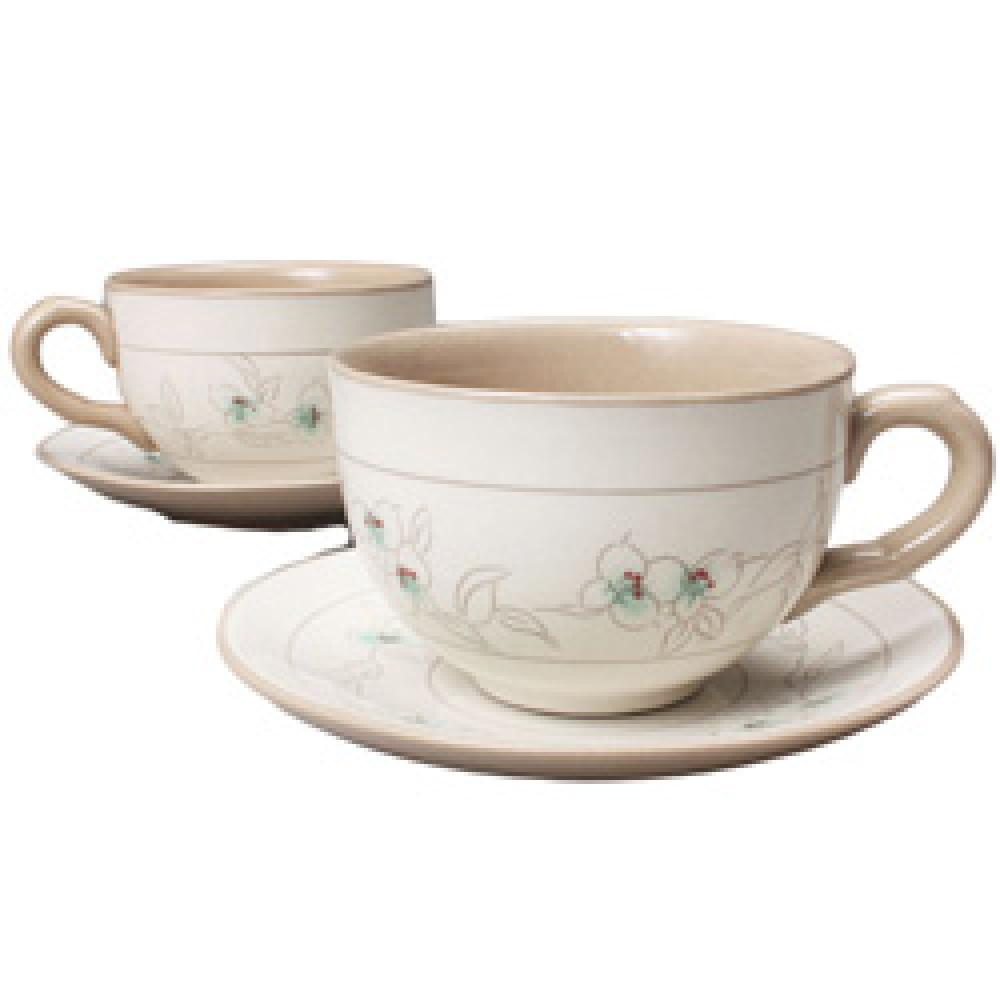 Doyenong Buncheong Coffee Cup Set with Common Dayflower Design