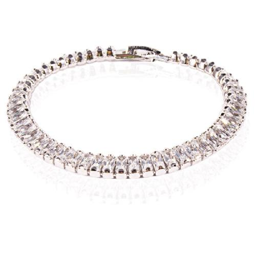 Leclairvaux_Platinum-plated Brass and Rectangle Cubic Zirconia_Bright Amie, Tennis Bracelet_6.7
