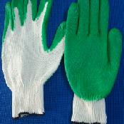 Green latex coated glove