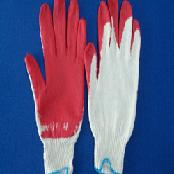 Red latex half coated gloves