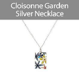 Cloisonne Garden Long Silver Necklace