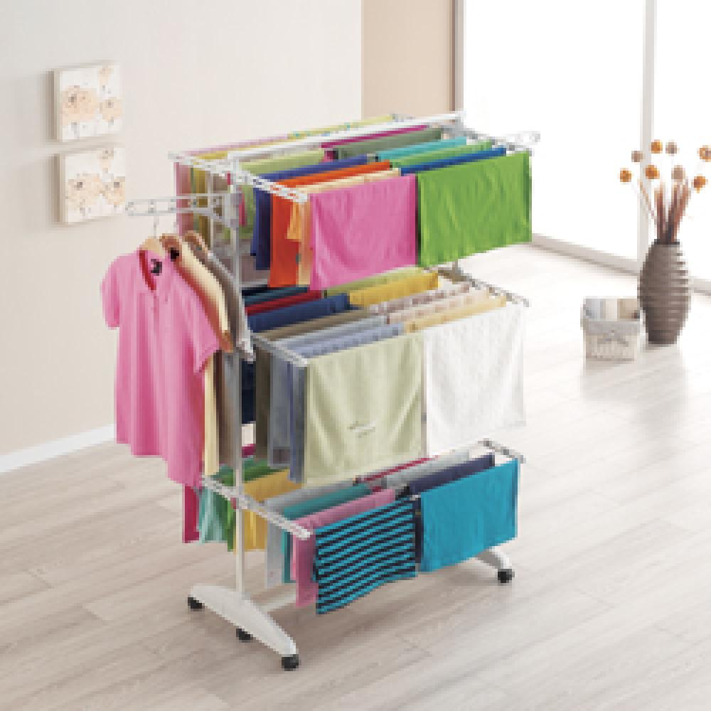 New touch laundry drying rack 6 foldable movable adjustable