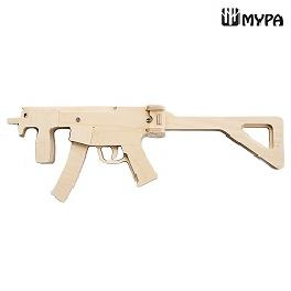 [MYPA] DIY Wooden Rubber Band Shooting Gun 8-Shot Wood Toy Gift for Kids and Adults - MP5 K