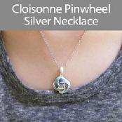 Cloisonne Pinwheel Silver Necklace