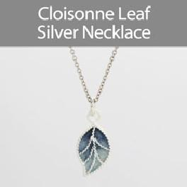 Cloisonne Leaf Silver Necklace