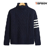 TOPBOY Mens Casual Basic Turtleneck Slim Fit Pullover Sweaters Stripe Sleeve with Diagonal Patterned