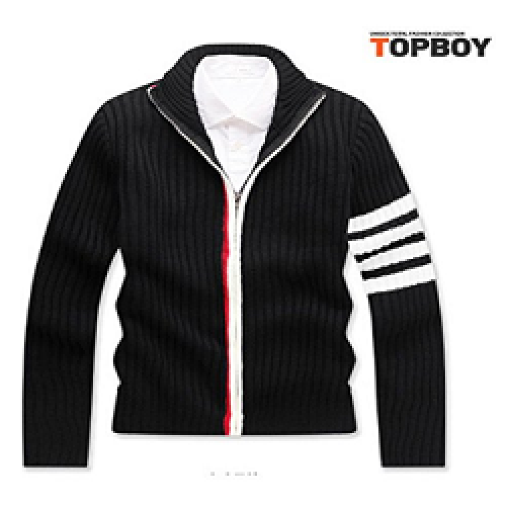 TOPBOY Mens Casual Knit Sweater Cardigan Stripe Sleeve with Full Zip Front, Made in Korea