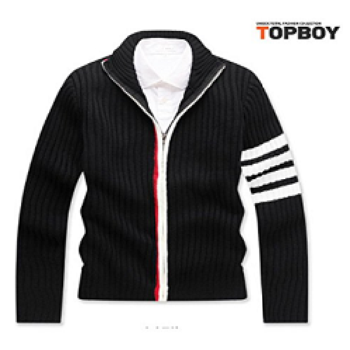 TOPBOY Mens Casual Knit Sweater Cardigan Stripe Sleeve with Full Zip Front, Made in Korea    | topboy, men, sweater, neat