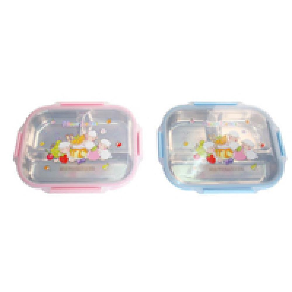 Stainless Steel 3-Space Food Snack Tray Lid Hygienic Lunch Box